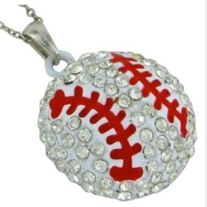 "Silver Baseball Mom Sport Necklace 19"" Crystal"